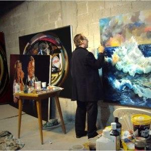 """האמן ד""""ר אנטון בידרמן מצייר סערה"""