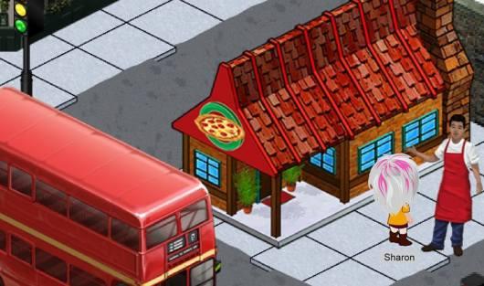 בפתח חנות הפיצה Near the pizza shop