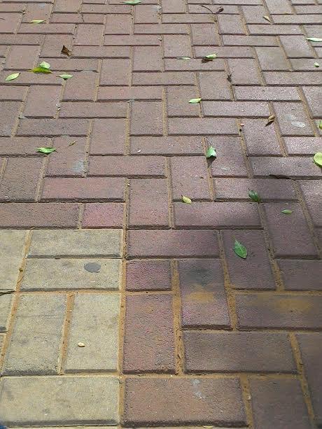 מדרכה יחסית נקיה ברחוב בחדרה A relatively clean pavement in a street in Hadera