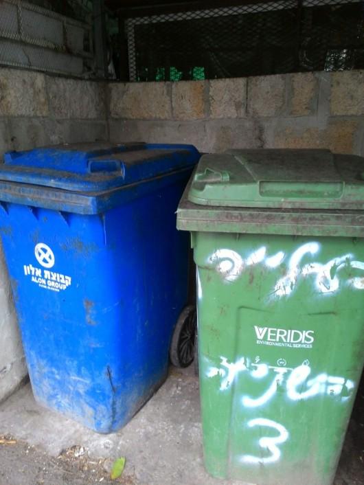 פחים מטונפים ברחוב שלי Dirty garbage bins in my street