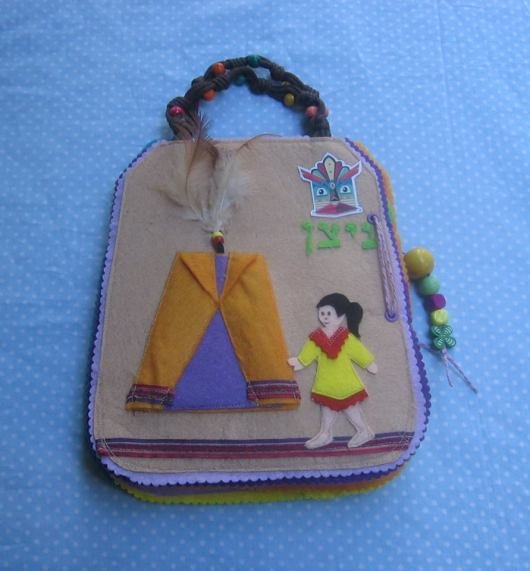 Activity book in the shape of a bag with Indian motifs
