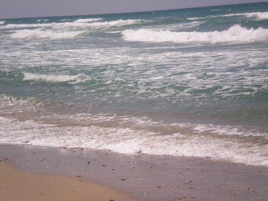 מפגש בין גלים לחוף confluence between waves and beach