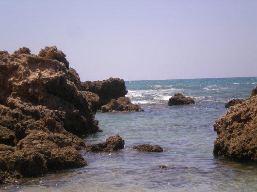 חוף אולגה, גלים זורמים אל החוף Olga Beach, waves flowing to the shore