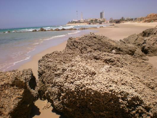 חוף אולגה, מבט מהסלע אל כפר הים Olga Beach, view from the rock to the Sea Village